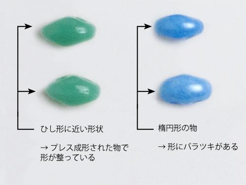 ツインビーズの比較(プレス成形の物とそうでない物)