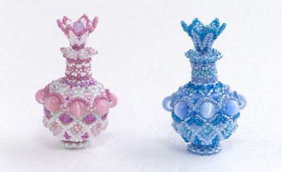 フラワーモチーフの栓の香水瓶のキット・ピンクとブルー・KT344-1VASE