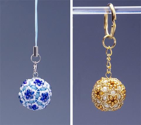 星型の花模様のボールのストラップとキーホルダー・KT379-1