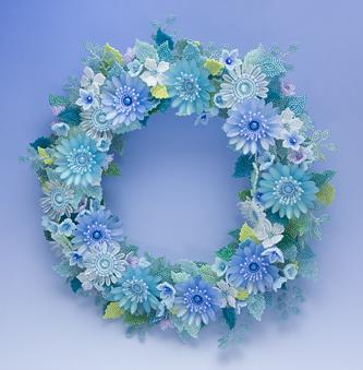 青い花のリース