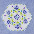 花模様の六角形のビーズのドイリーキット・ブルー:KT237-1MAT