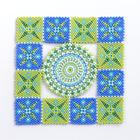 グリーン&ブルーのスクエアドイリー・グリーン&ブルー(ビーズの壁飾り):KT240-1MAT
